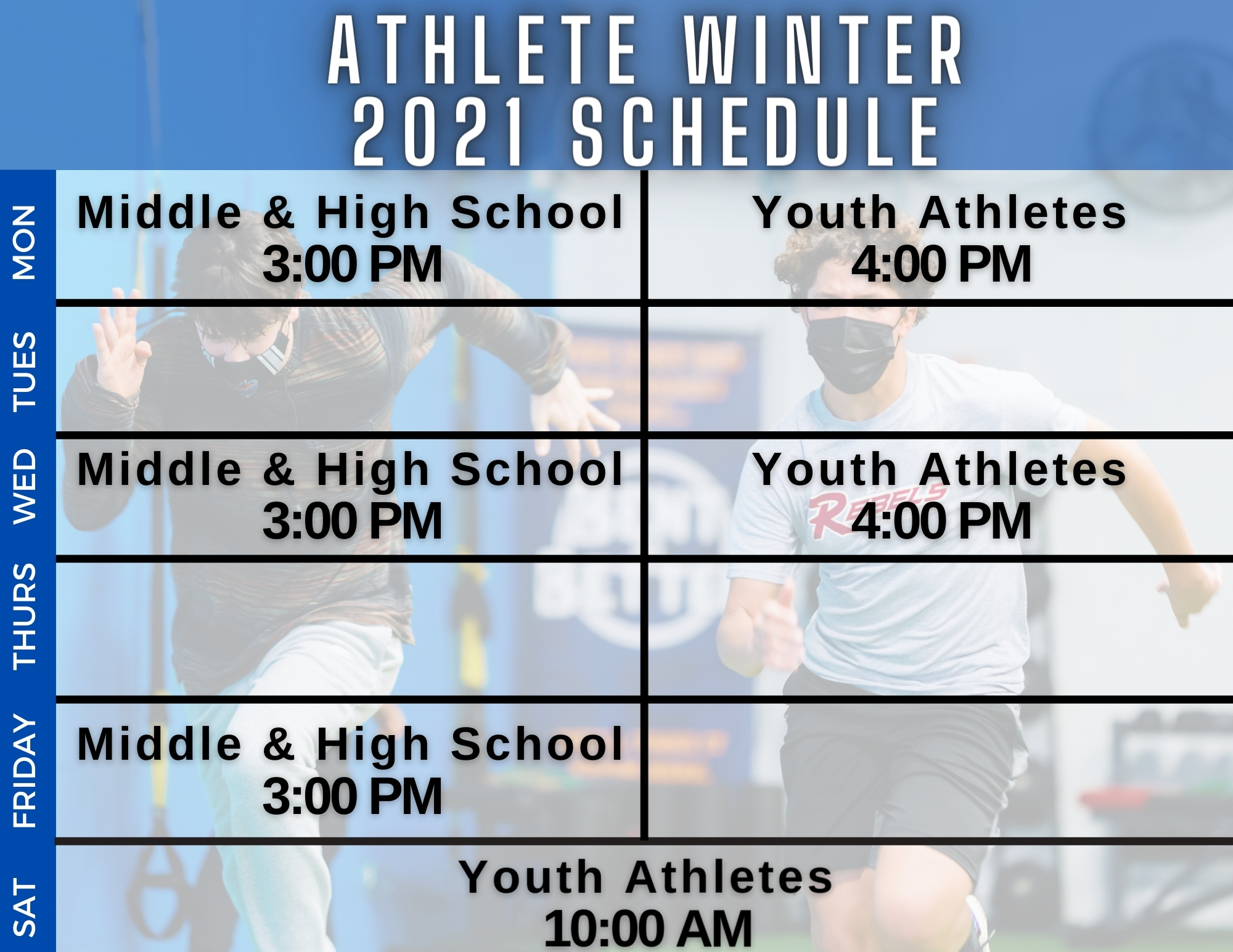 Training Schedule Bent On Better Athletes Winter 2021